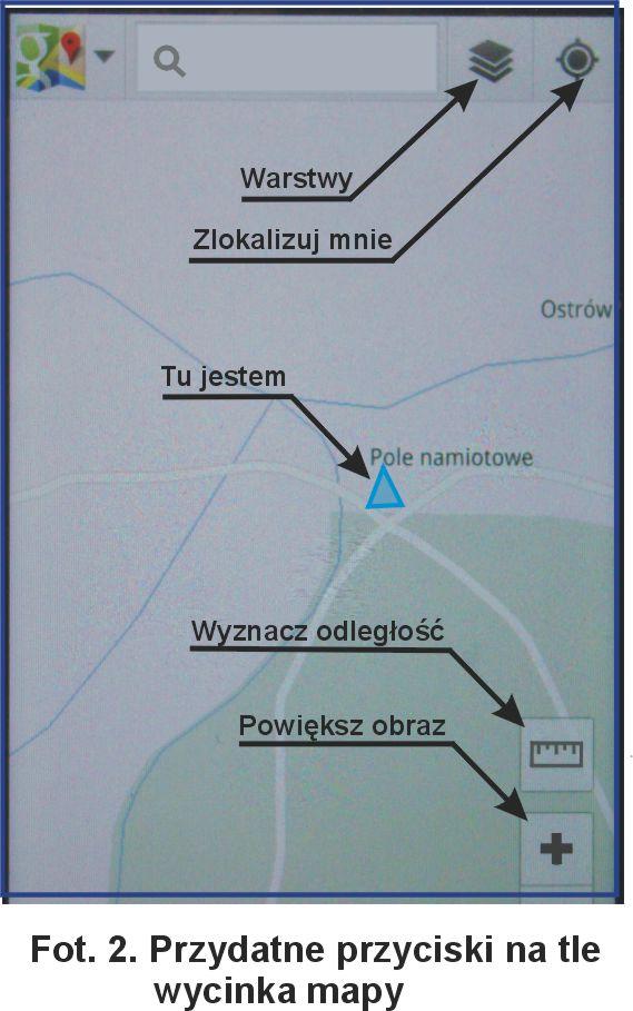Przydatne przyciski na tle wycinka mapy