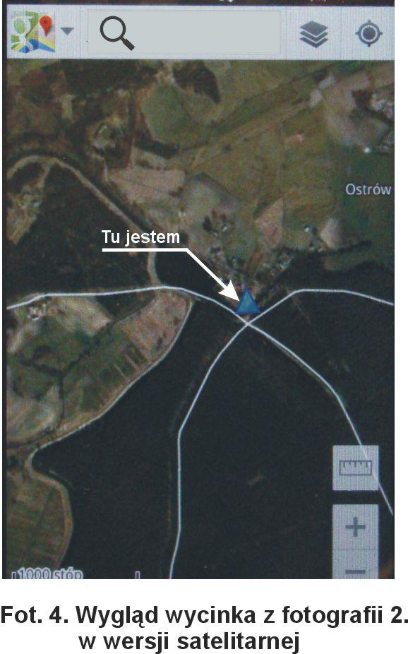 Wygląd wycinka z fotografii 2 w wersji satelitarnej